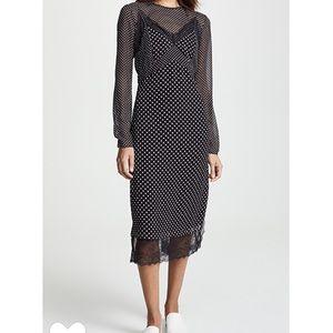 NWT JOIE   Alamea Dot & Lace Midi Dress